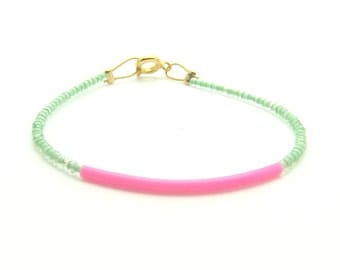 Mint Bracelet - Beaded Bracelet - Pink Bar Bracelet - Seed Bead Bracelet - Rubber Bracelet - Minimalist Bracelet - Pastel Bracelet