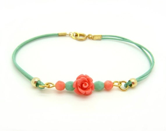 Mint and Coral Beaded bracelet - Bohemian Pastel Mint Leather Bracelet - Mint & Coral faceted beads and Rose