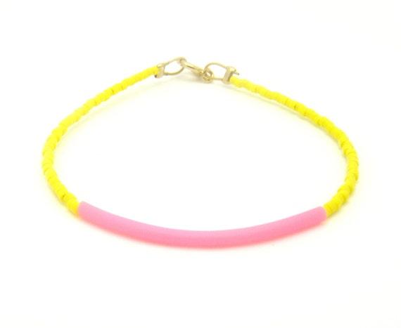 20% OFF Yellow Beaded Bracelet w/ Neon Pink Rubber Bar - Friendship Bracelet - Beach Bracelet - BFF Bracelet - Seed Bead Bracelet
