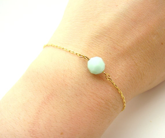 Pastel Mint Beaded Bracelet - SWAROVSKI Faceted Alabaster Crystal Bead on Delicate Gold Filled Chain (also with Sterling Silver chain)