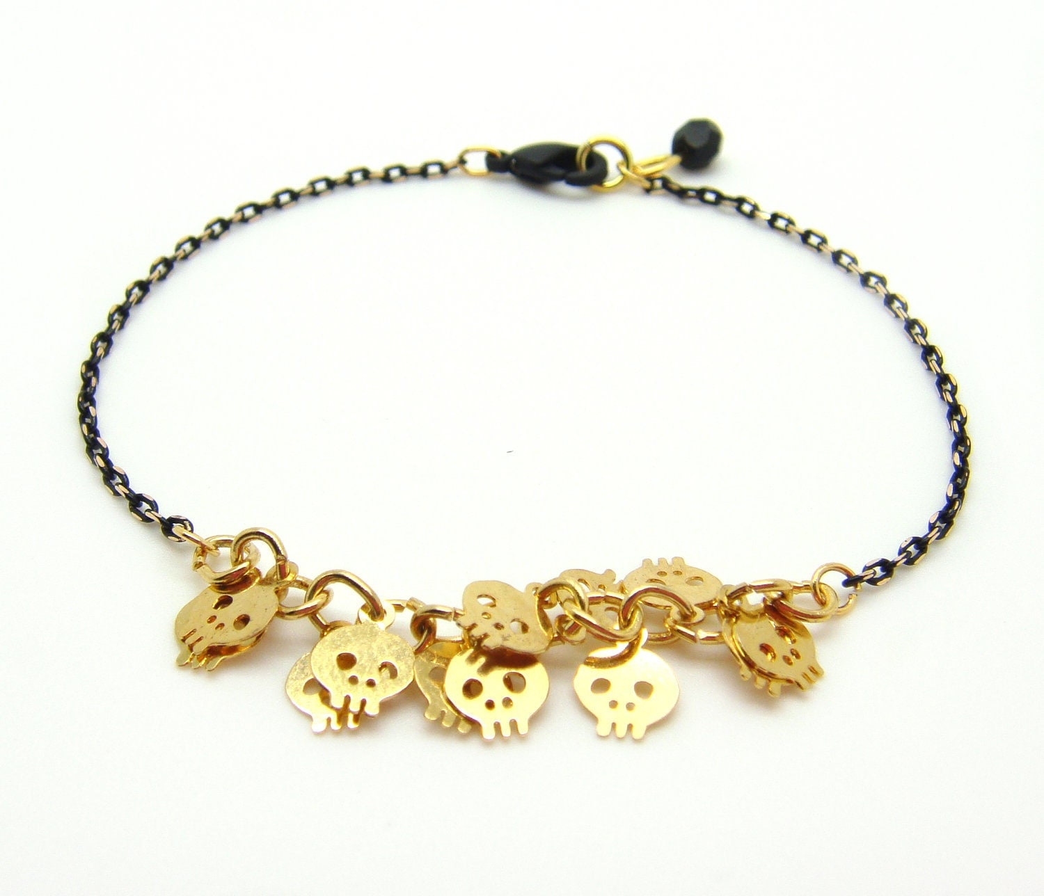 skull bracelet tiny skull bracelet gold skull charms on gold black 4495