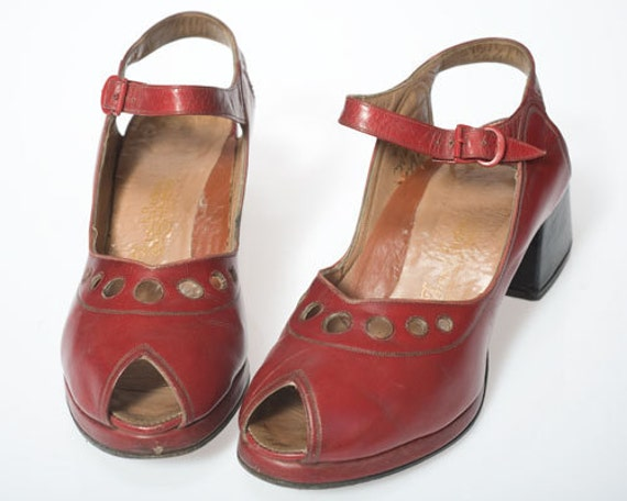 SaleSale Stunning & spectacular 1940s- 70s Vintage French, Paris, oxblood red, red, leather cut-out, shoes, platform, peeptoe, heels, dance