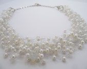 RESERVED FOR ANGELA Set of five white necklaces, airy necklace for summer, bead crochet necklace