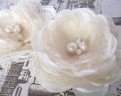 Ivory cream fabric flowers,set of two, bridal hair clip with lace and freshwater pearls, shabby shic fabric flowers