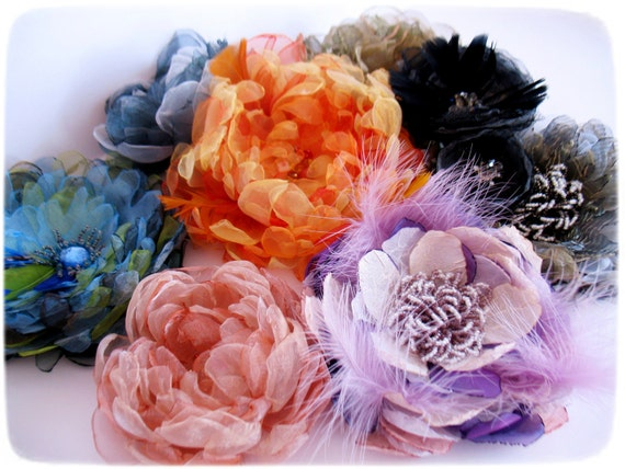 Special listing for Nicole - set of two black fabric flowers-bridesmaid hair accesories