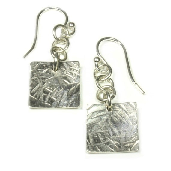 Womens Valentine Gift, Valentines Day, Valentines Gift, Silver Square Earrings, Sterling Silver, Textured Silver Earrings