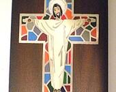 Spanish Metal and Enamel Inlaid Crucifix