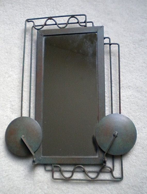 Art Deco Unique Mirror with Folding Candle Holders