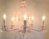 VINTAGE CRYSTAL CHANDELIER Pink Hollywood Regency Girl's Room Nursery Decor Shabby Chic
