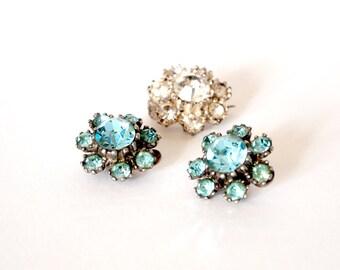 Vintage Turquoise Diamante Paste Clip Earrings and matching Vintage Clear Diamante Paste Brooch