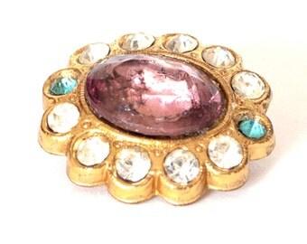 Costume Jewelry Purple Stone Brooch c.1950s
