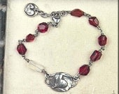 Heart Theme Sterling Silver Faceted SIlver Sheen MOONSONTE & GARNET Nugget Bracelet