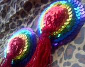 Sparkling Rainbow Gay Pride sequin pasties with glitter tassel