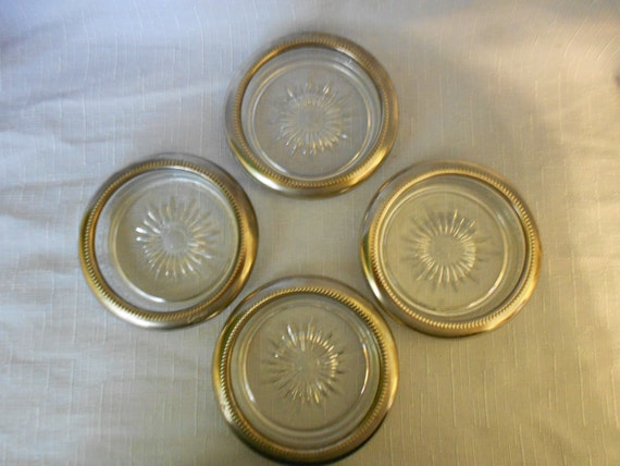 SUPER SALE - Set of 4 Crystal and Silver Leonard Coasters from Italy