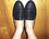 RESERVED - Retro Vintage 80s Black Glitter Loafers 6.5 7 Flats Slippers Sparkle Shiny Michael Jackson Disco Louboutin New Wave Punk Goth