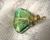 Fused Glass Pendant  Wire Wrapped Green Mystic