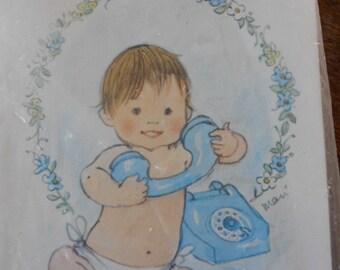 vintage baby boy birth announcments