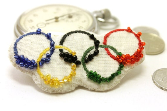 Olympic rings brooch - London 2012 Olympics jewelry - embroidered beaded sports party brooch