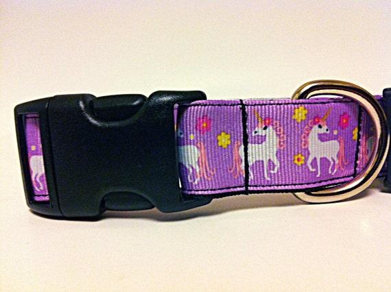 """The Caitlin - Dog Collar with Unicorns - 1"""" width"""
