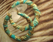 Gold, Turquoise and Brown Fabric Hoop Earrings