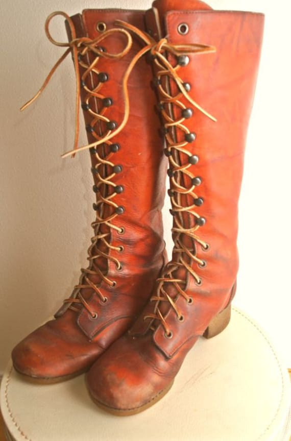 vintage leather lace up knee high boots s size 8