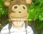 Natural looking Brown Money Crocheted Hat with ear flaps, ALL SIZES