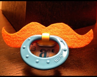 Luck of the Irish Mustache Pacifier - Orange Strongman