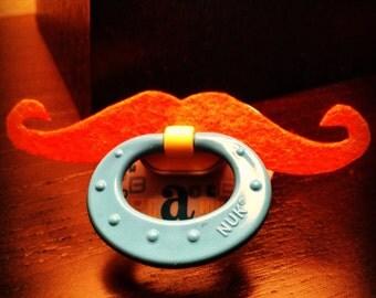 Mustache Pacifier- Orange Handlebar
