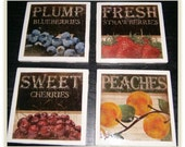 Vintage Fruit Ceramic Coasters (Set of 4)
