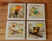 Cuban Cocktail Ceramic Tile Coasters