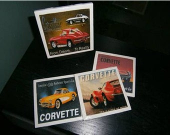 Corvette Custom Ceramic Tile Coasters (Set of 4)