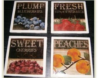 Vintage Fruit Ceramic Coasters (Set of 4)