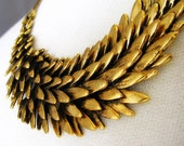 Gold Statement Necklace Fallen Angel - Artisan Made Antiqued Gold Angel Wing Jewelry - Gift For Her