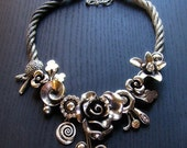 Fantasy Flower Garden Silver Statement Necklace With Flowers And Crystal Design Elements