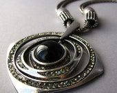 Celestial Armillary Sphere Antiqued Silver Necklace With Crystal Accents - Christmas Gift For Her