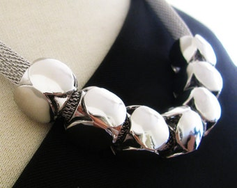 Silver Statement Necklace - Lets Do The Electric Slide Statement Necklace
