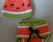 Watermelon photo prop diaper cover hat set 3-6 months baby girl