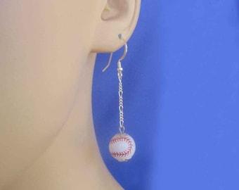 Long Dangly Chain Baseball Earrings FREE Shipping