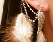 Boho White Feathered Earcuff