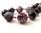 Purple cracked agate faceted round beads 20mm