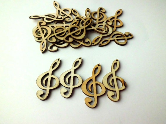 Treble clef wood pendants 4 pcs