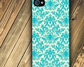 iphone 4 case or Iphone 4s case with Turquoise and Cream Damask image