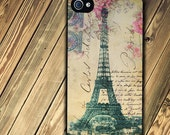 iphone 4 or iphone 4s case with Eiffel Tower and vintage Pink background