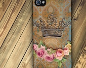 iPhone 4 and iPhone 4s Hard Case with Crown and Rose on Vintage backround