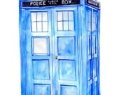 "17 x 22"" Doctor Who Print: Watercolor Painting of the TARDIS"