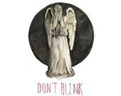 "8.5 x 11"" Doctor Who Print: Watercolor Painting of a Weeping Angel"