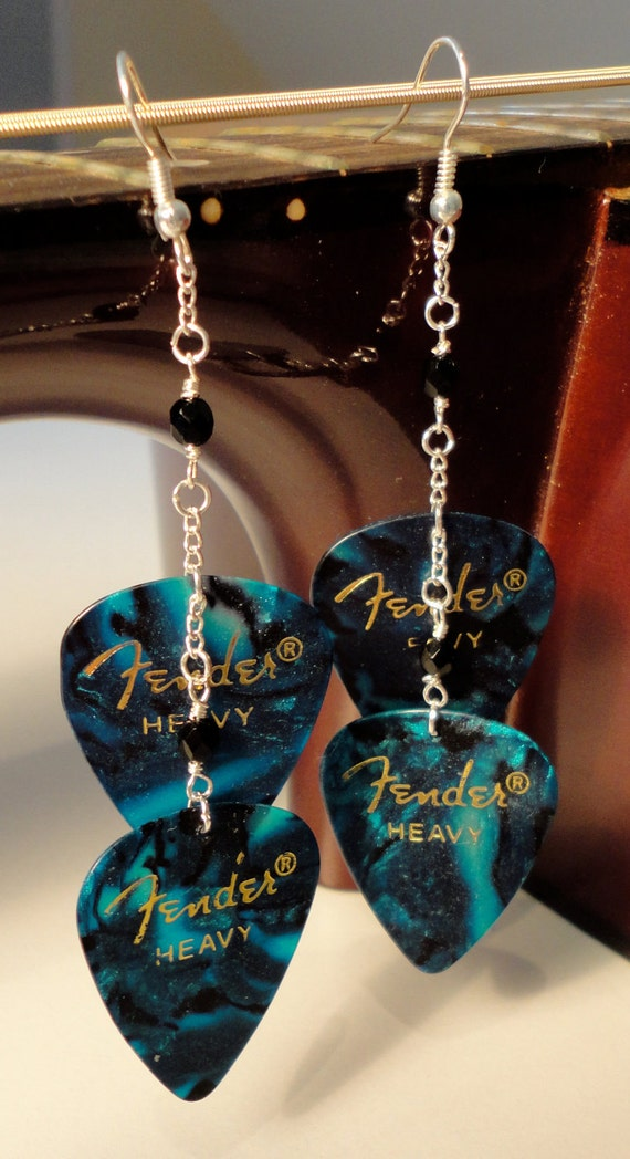 Turquoise Guitar Pick Earrings