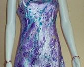 Reserved: Slip dress, satiny marbled chemise dress, find yourself in lilac heaven