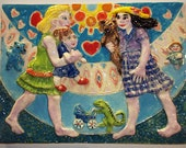 Ceramic tile, decorative handmade high relief art tile of a girly greeting