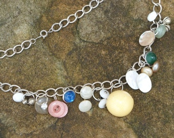 SALE  Vintage button upcycled necklace